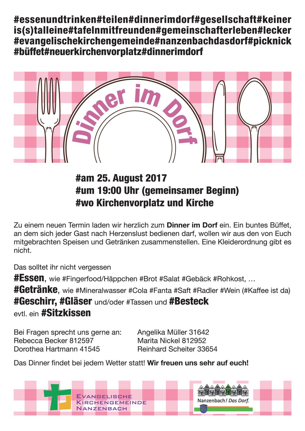 Dinner im Dorf am 25. August
